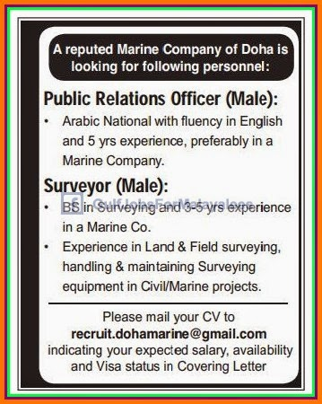 reputed marine company job vacancies for doha Qatar - Gulf Jobs for