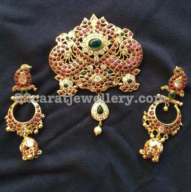 Detachable Silver Pendant and Jhumkas
