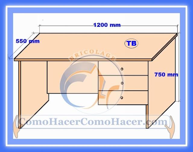 Plano de escritorio web del bricolaje dise o diy for Medidas de muebles para oficina
