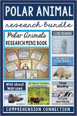 Questioning skills are an important component of reading comprehension and student research. In this blog post, students ask and answer questions to deepen understanding and to work on learning about polar animals. This bundle includes a paper bag research book and five close reading sets focused on caribou, walruses, penguins, polar bears, and the arctic fox.