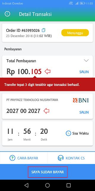 transfer sejumlah uang lengkap dengan kode unik