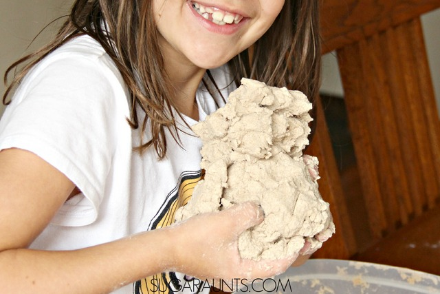 Make this easy 3 ingredient Kinetic Sand recipe and use in play and learning at home activities, including math with preschool and grade school kids.