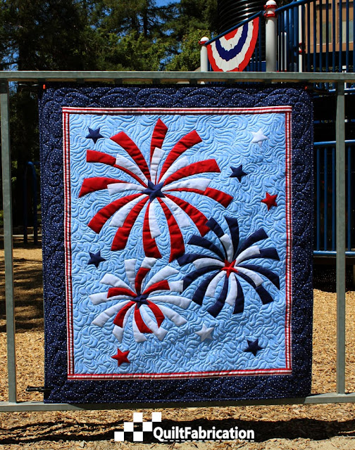 Fireworks quilted wall hanging
