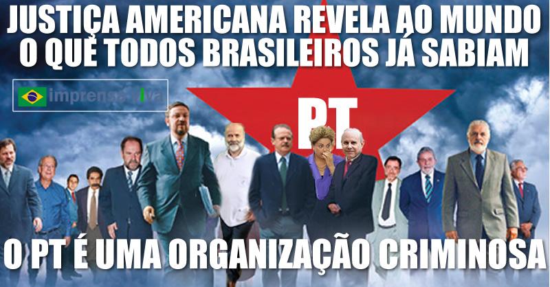 Resultado de imagem para pt e visto como organizaçao criminosa por lideres mundiais apos eua divulgar ao mundo a corrupçao