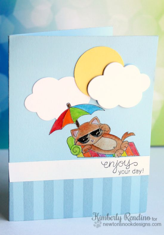Summer Cat on Beach Card by Kimberly Rendino | Newton's Summer Vacation stamp set by Newton's Nook Designs