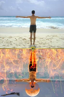 Edit fotografico en photoshop como arte visual surrealista contemporaneo inspirado en el infierno, tratando de demostrar la dualidad a traves del cielo y el infierno, la paz y el caos.