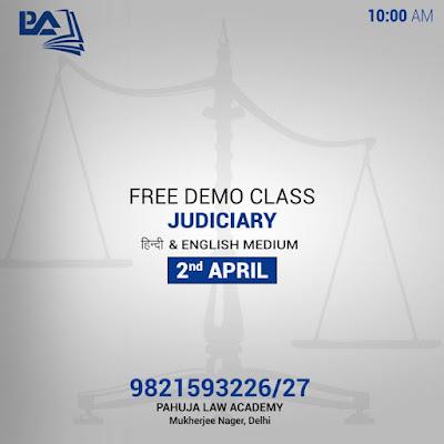 Free Demo Class for Judiciary in English & Hindi Medium