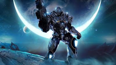 Robot con arma del futuro y planeta de fondo