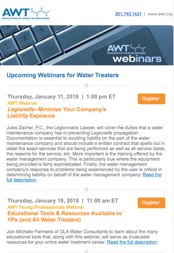 AWT (Association of Water Technologies) Webinars