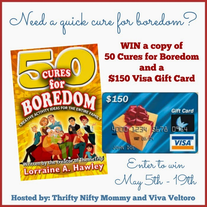Enter the 50 Cures for Boredom/VISA Giveaway. Ends 5/19.