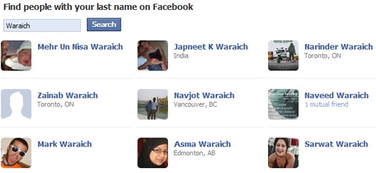 find people on facebook by name