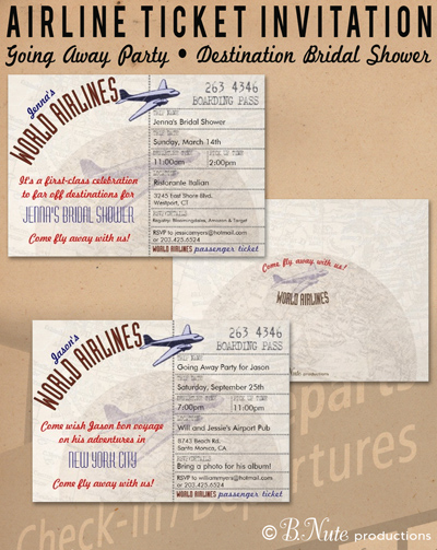 bnute productions Airline Ticket Invitation and Party Ideas - airline ticket invitation