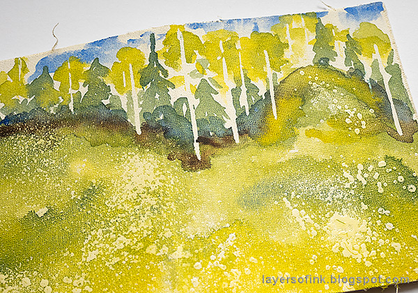 Layers of ink - Watercolor Meadow Notebook Tutorial by Anna-Karin Evaldsson. Rub off the masking fluid.