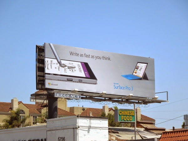Write as fast as you think Microsoft Surface Pro 3 billboard