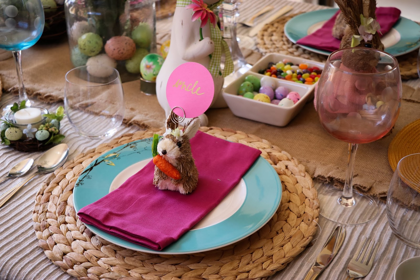 easter tablescape, easter party table decor, bunny and egg decoration, reactangle dining tablescape, party decoration, myriad musings .jpg