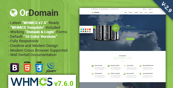 WHMCS hosting theme Oroomain free download