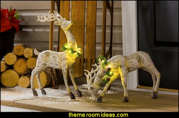 Winter Birch Deer with Lights Decorative Accent  Rustic Christmas  decorating ideas - rustic Christmas decorations  - Vintage  -  Rustic  - Country style Christmas decorating -  rustic Christmas decor - Christmas stockings - vintage rustic christmas decorations  Rustic Glam Vintage Christmas decor -  Rustic Country Vintage christmas tree ideas - Christmas stockings