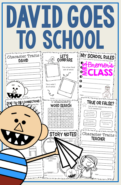David Goes to School book study companion activities perfect for back to school! Use for whole class guided reading, small groups, or individual study packs. Packed with lots of fun literacy ideas and guided reading activities. Common Core aligned. K-2 #bookstudies #bookstudy #picturebookactivities #1stgrade #2ndgrade #kindergarten #literacy #guidedreading #backtoschool