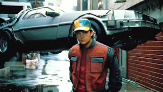 Marty McFly in front of a flying DeLorean.