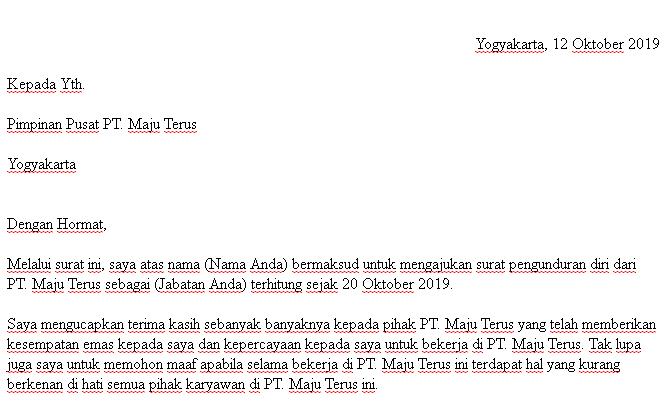 contoh surat pengunduran diri karyawan pabrik yang baik dan sopan