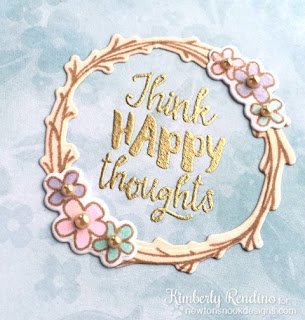 Think Happy Thoughts Card by Kimberly Rendino | Happy Little Thoughts Stamp set and dies by Newton's Nook Designs #newtonsnook