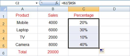 حساب النسبة المئوية في Excel