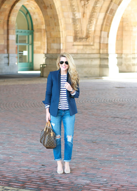 navy blue blazer paired with boyfriend denim at the Pennsylvanian in Pittsburgh