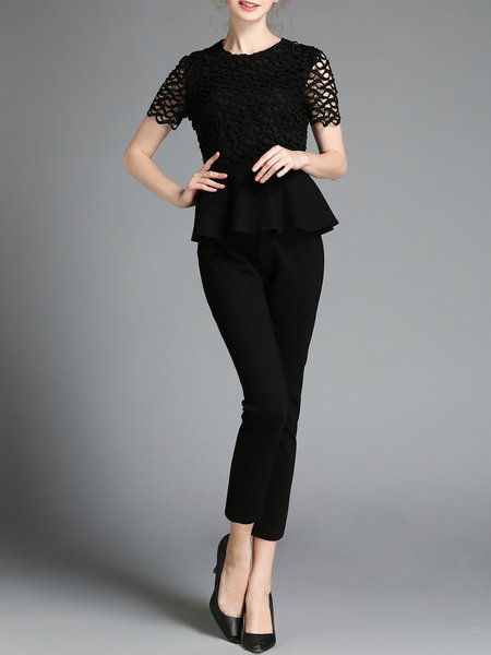 Black Two Piece Crew Neck Ruffled Work Jumpsuit