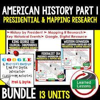 American History Presidential, Mapping Research (Print, Digital, Google) BUNDLE  COLONAIL AMERICA TO RECONSTRUCTION--> American History Research Graphic Organizers, American History Map Activities, American History Digital Interactive Notebook, American History Presidential Research, American History Summer School