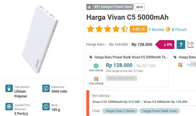 Power Bank Terbaik &Terkuat - Vivan C5 5000 mAH
