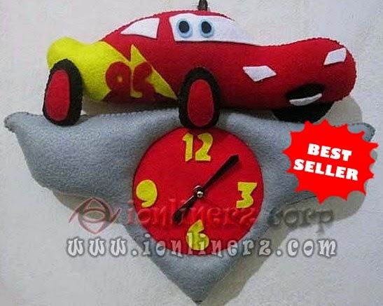 Jam Dinding Flanel Karakter Kartun Boneka Cars McQueen