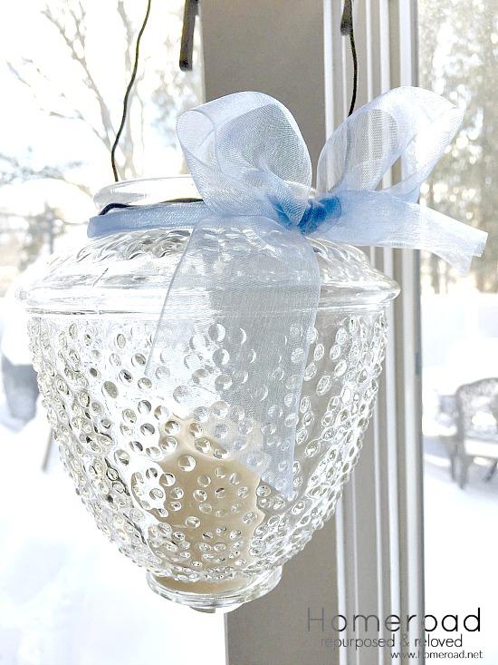 Vintage Ceiling Light Shade Repurposed Lantern
