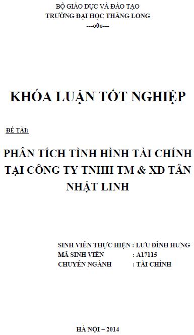 Phân tích tình hình tài chính tại công ty TNHH Thương mại và Xây dựng Tân Nhật Linh