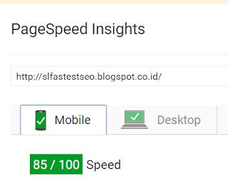 Kecepatan loading template SL Fastest SEO dari Mobile