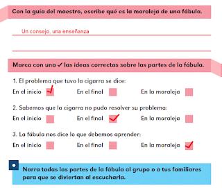 Respuestas Apoyo Primaria Español 2do grado Bloque 1 lección 13 ¿Qué ocurrió en la fábula?