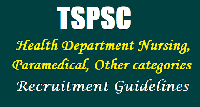 TSPSC Health Department Nursing, Paramedical, Other categories Recruitment Guidelines download
