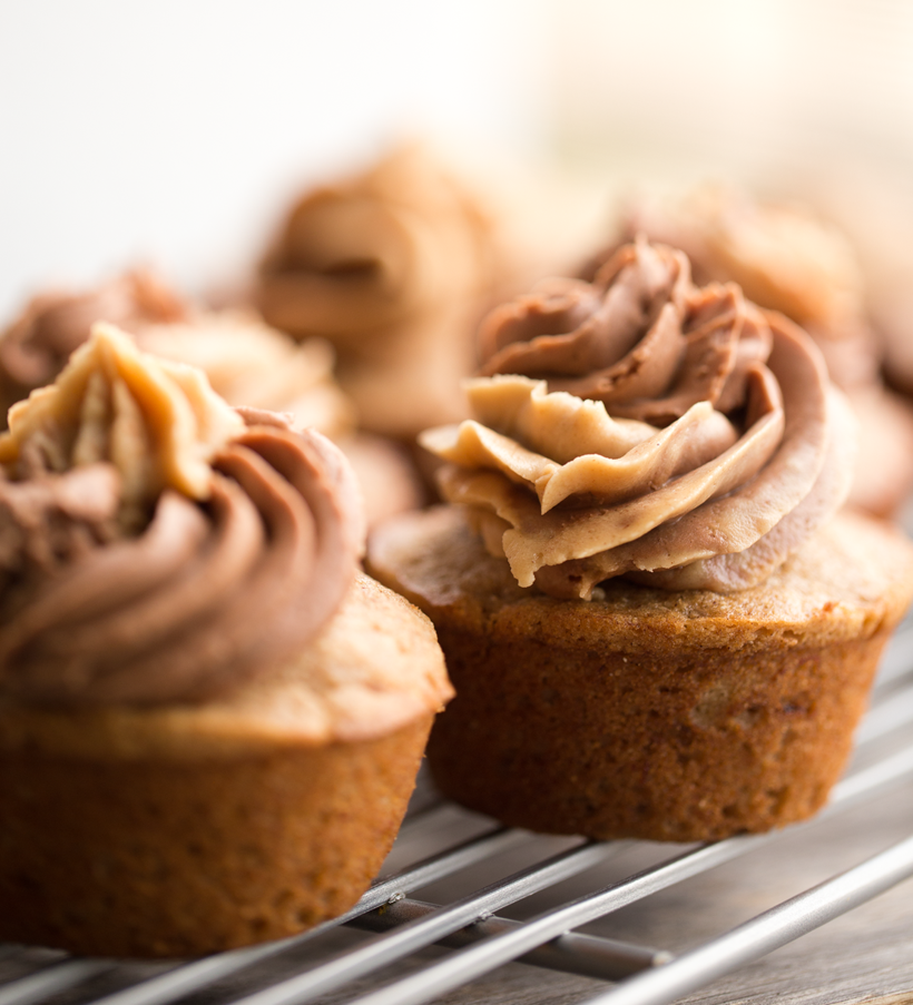 Peanut Butter Chocolate Swirl Banana Bread Cupcakes.