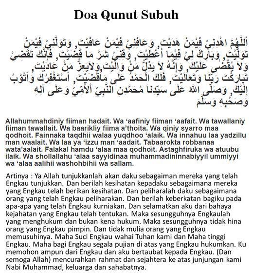 Hukum Bacaan Doa Qunut Subuh Nazilah Pendek Wajib Atau Sunnah