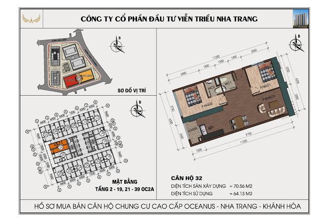 Sơ đồ căn hộ số 32 tòa OC2A Viễn Triều Nha Trang