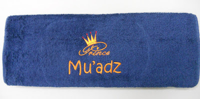 Blue medium size towel with name embroidery
