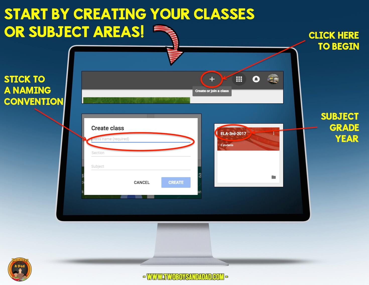 First step is to create a new class in Google Classroom