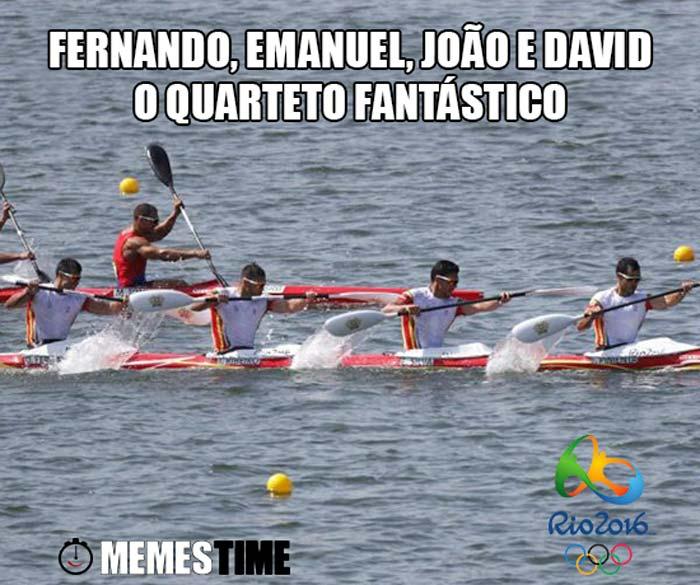 Memes Time Fernando Pimenta, Emanuel Silva, João Ribeiro e David Fernandes no Rio 2016 em 6º Lugar na Final de K4 1000 metros – Quarteto Fantástico