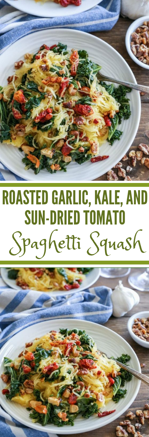ROASTED GARLIC AND KALE SPAGHETTI SQUASH #dinner #healthyrecipe