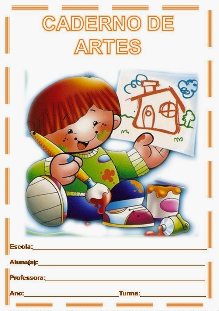 Capa Colorida Para Caderno Infantil De Artes Desenhos Para Colorir