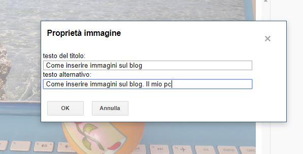 schermata proprietà immagine su blogger