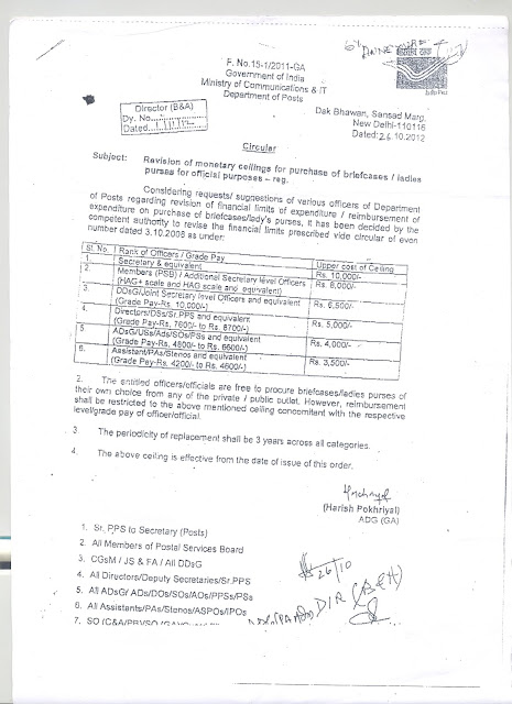 Revision of Monetary ceiling for purchase of briefcases