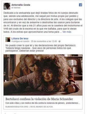 """La actriz utilizó su cuenta de Facebook para difundir la gravísima situación que debió atravesar. """"Me manosearon entera"""", acusó. Costa decidió dar a conocer su testimonio luego de que el director de """"El último tango en París"""", con Marlon Brando, reconociera abusos a su protagonista, María Schneider"""