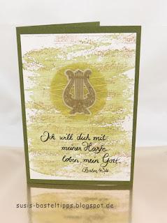 christliche karte mit stanzenset musikinstrumente von stampin up harfe psalmen david Gott loben demonstratorin in coburg susis basteltipps