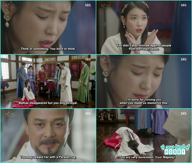 hae soo escaped from punishment as she remember some of the history about King Taehjo and thanked her history teacher  - Moon Lovers: Scarlet Heart Ryeo - Episode 5 Review