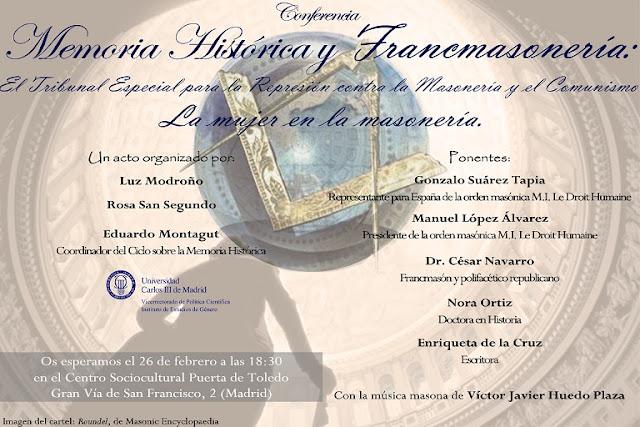 Conferencia sobre Memoria Histórica y Francmasonería